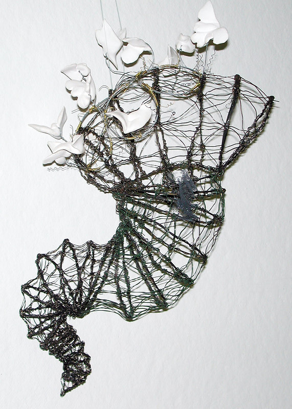 Wire Cocoon with Fliers - artwork by Judith Ann Cooper