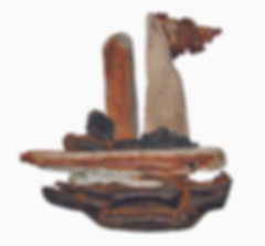 Driftwood Boat with Flag - artwork by Judith Ann Cooper
