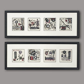 Small artwork sets framed by English Fra