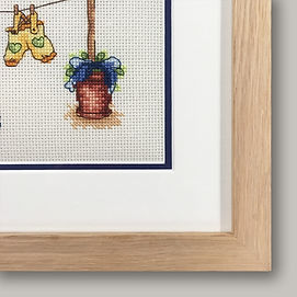New baby cross stitch picture detail fra