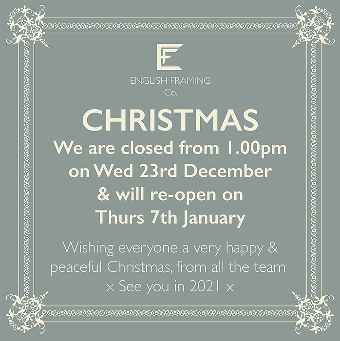 Christmas closing at English framing Co.
