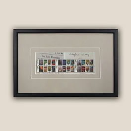 James Bond 007 stamps framed by English