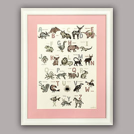 Childrens ABC poster in white frame fram