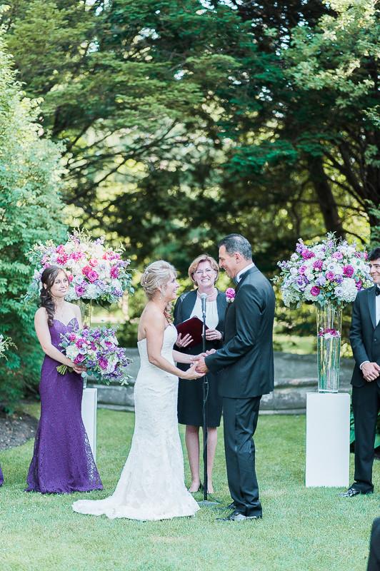 purple outdoor ceremony flowers - estate