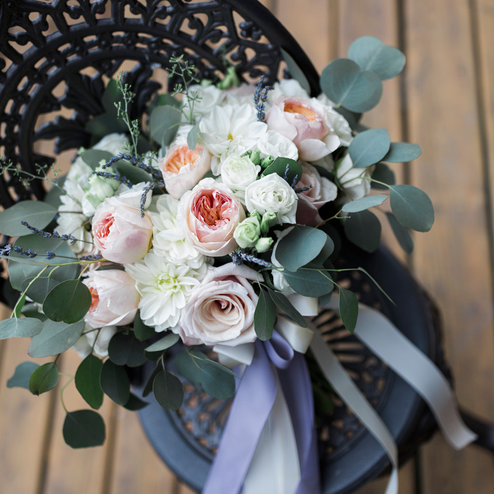 peach, blush & ivory bridal bouquet with