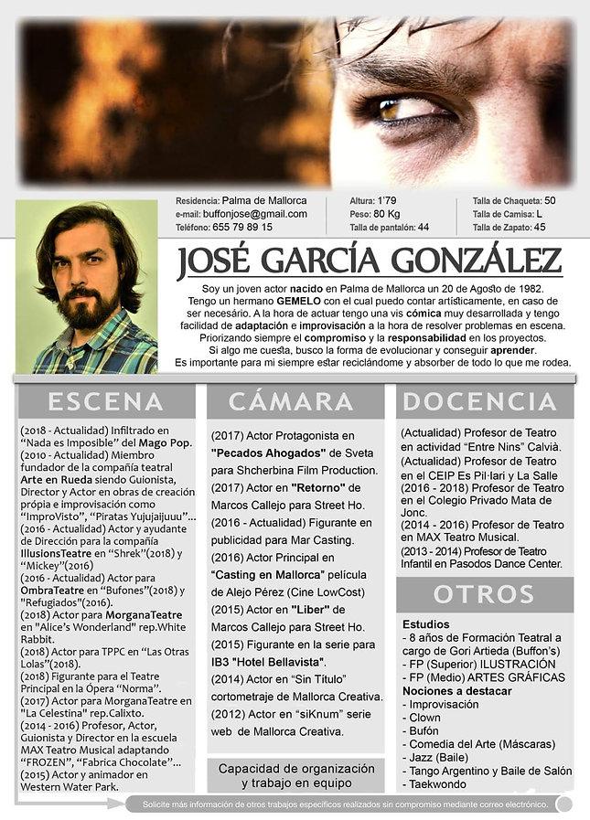 José García, alias Buffonjose. Actor de teatro, cine e imprvisación teatral, impro para los amigos