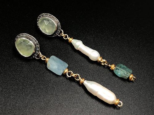 Prehnite & Pearl Drop Earrings