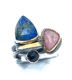 Lapis with Pyrite Stack Ring