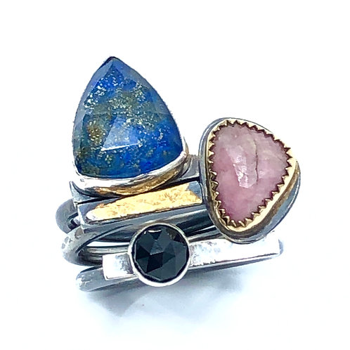 Lapis and Sapphire Stack Ring