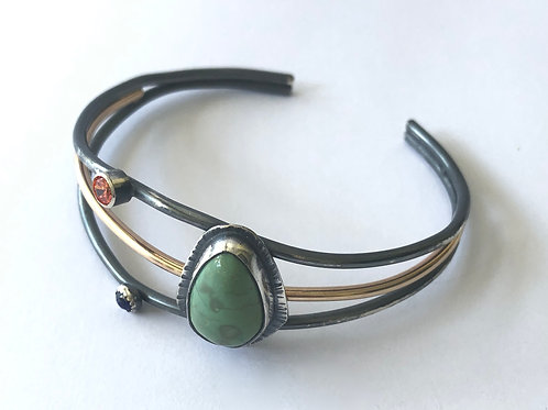 Turquoise and Fire Opal Cuff