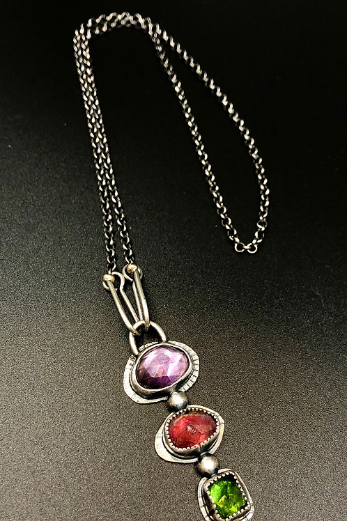 Amethyst, pink and green tourmaline Necklace