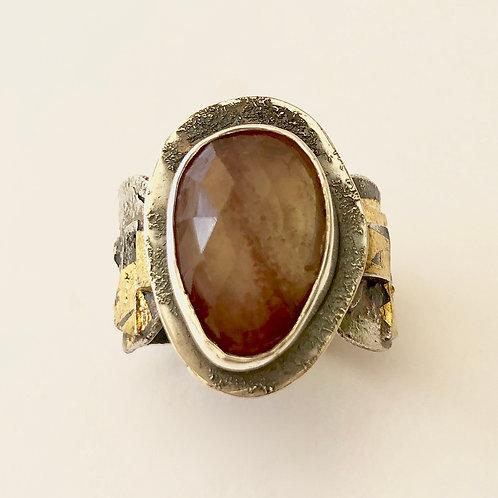 Red Labradorite Ring