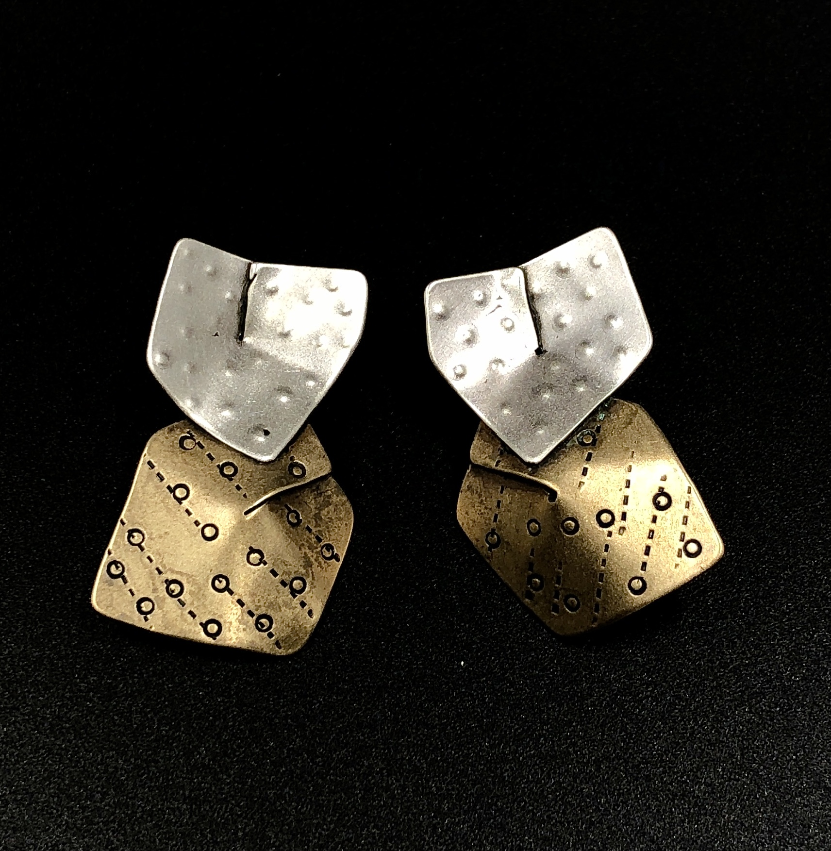 Folded Brass and Sterling Earrings