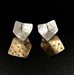 Folded Brass and Sterling Earrings