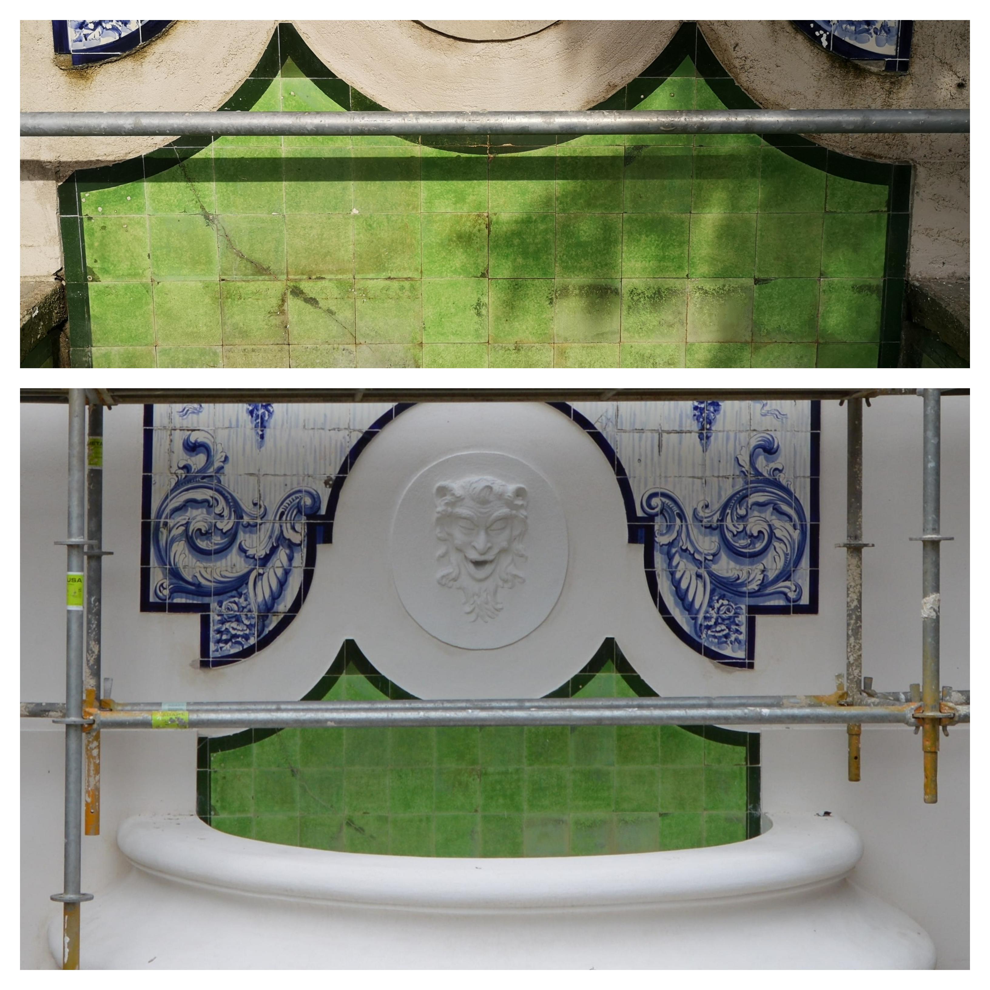 antes, durante e depois - azulejos da fonte