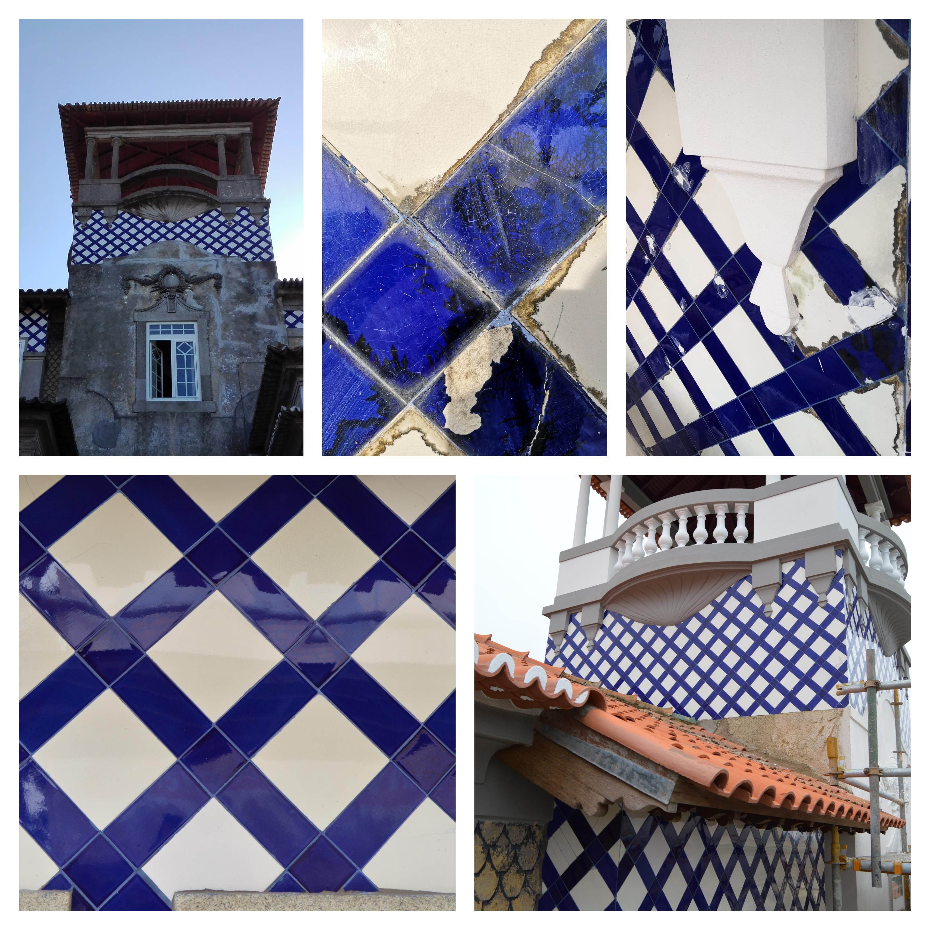 antes, durante e depois - azulejos enxaquetados