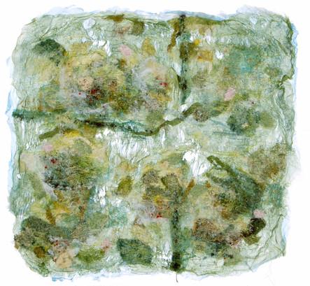 Tableau crée à partir d'organza, de soie et de couture  Panel created using organza, silk and sewing
