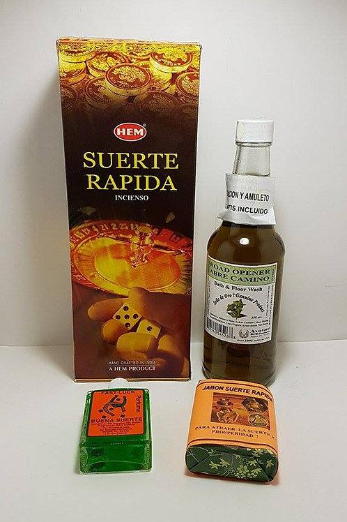 SUERTE RAPIDA DESPOJO KIT COMPLETO BAÑO JABON,INCIENSO,PERFUME,AMULETO, ORACION