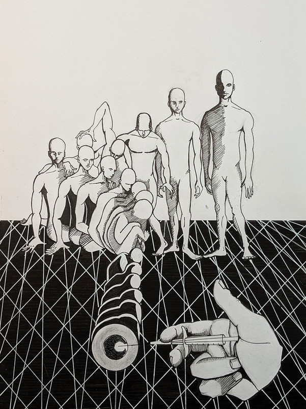 Pen and ink on paper