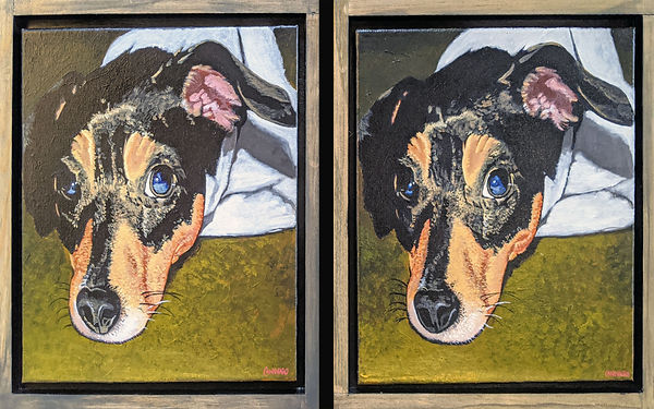 Two paintings of the same dog.jpg