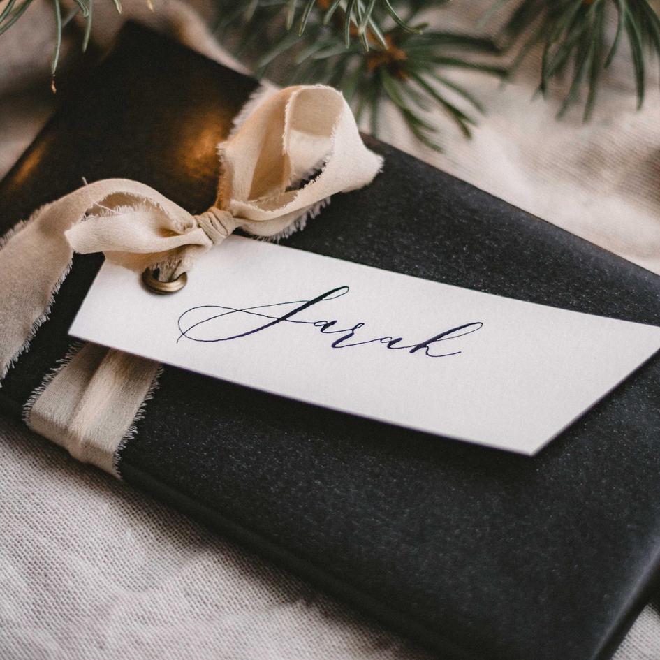 Weihnachtsanhänger Kalligrafie _ Gesche