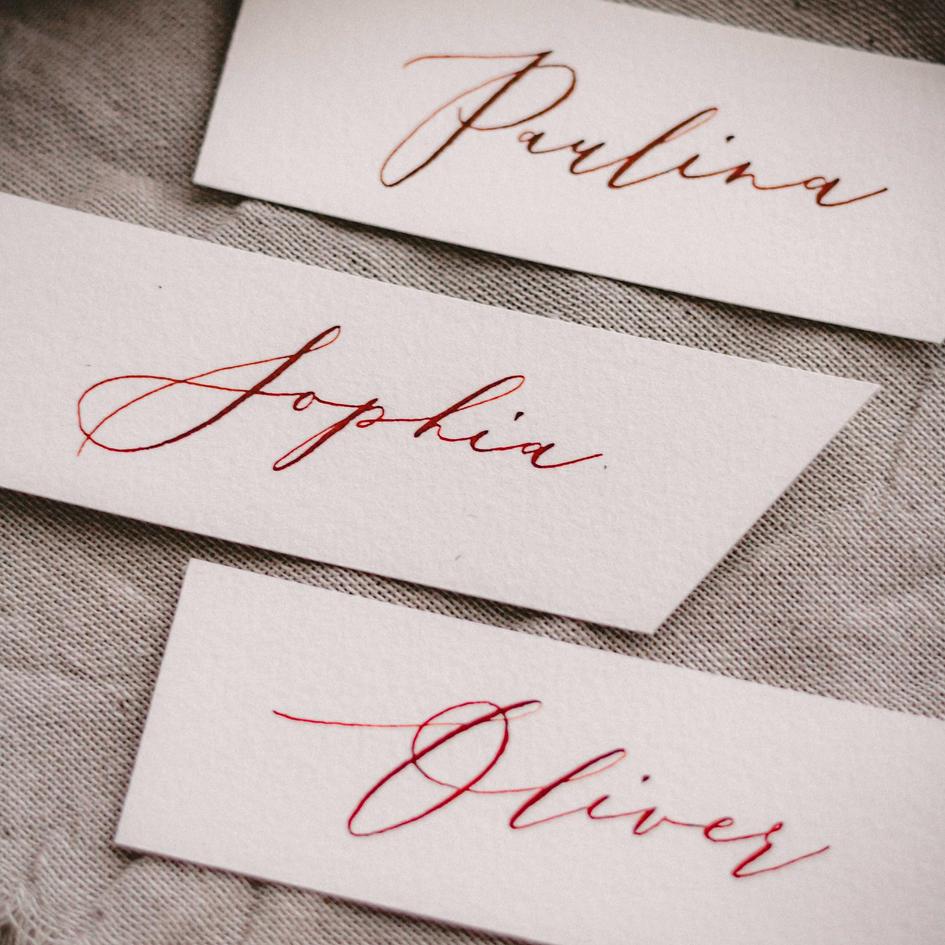 Platzkarten, Namensschilder Kalligrafie