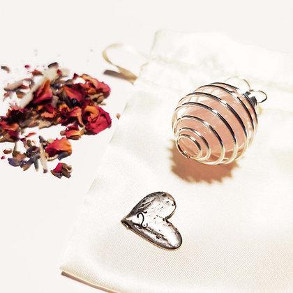 Rose Quartz Pendant/ Bouquet Charm & Heart Talisman Gift Set