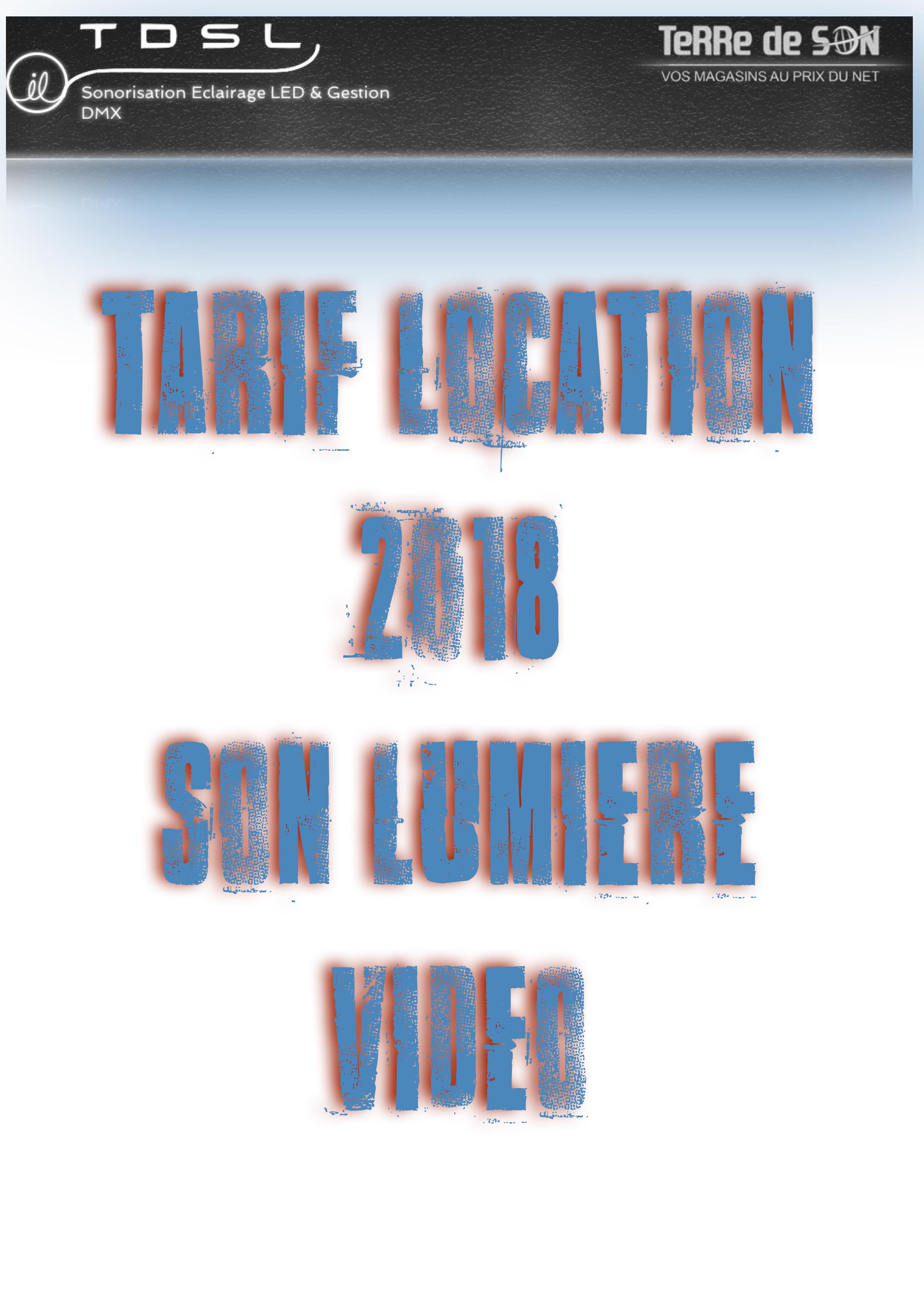 Tarifs Location 2018