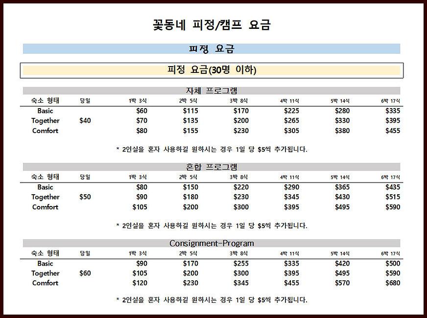 Kkottongnae retreat rates under 30(kor).