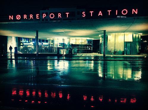 Nørreport Station on a rainy day 20x30 cm