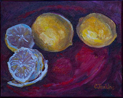 Lemons on Red Plate by Cindy Jenkins