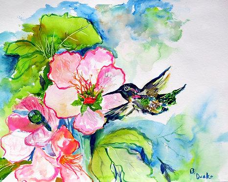 Hummingbird and Hibiscus by Betsy Drake Hamilton