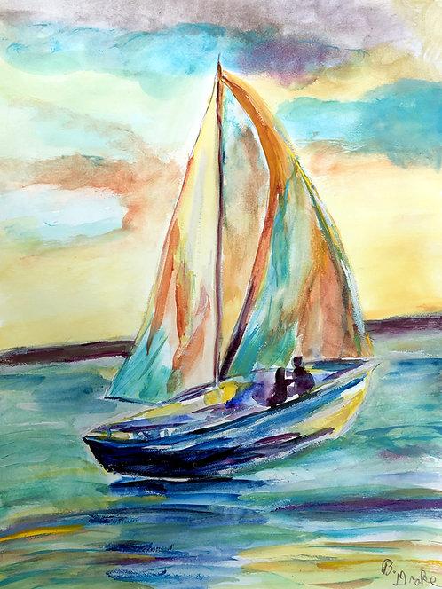 Aqua Sailboat by Betsy Drake Hamilton