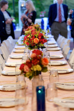 Barn aisle centerpieces and dining