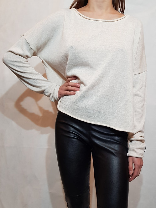 Sweter classic Bunt of color ecru melange