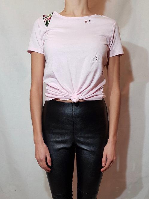 Różowy t-shirt damski krótki fukur-O!