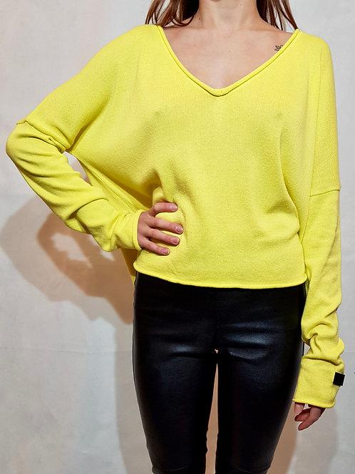Sweter V Bunt of color lemon