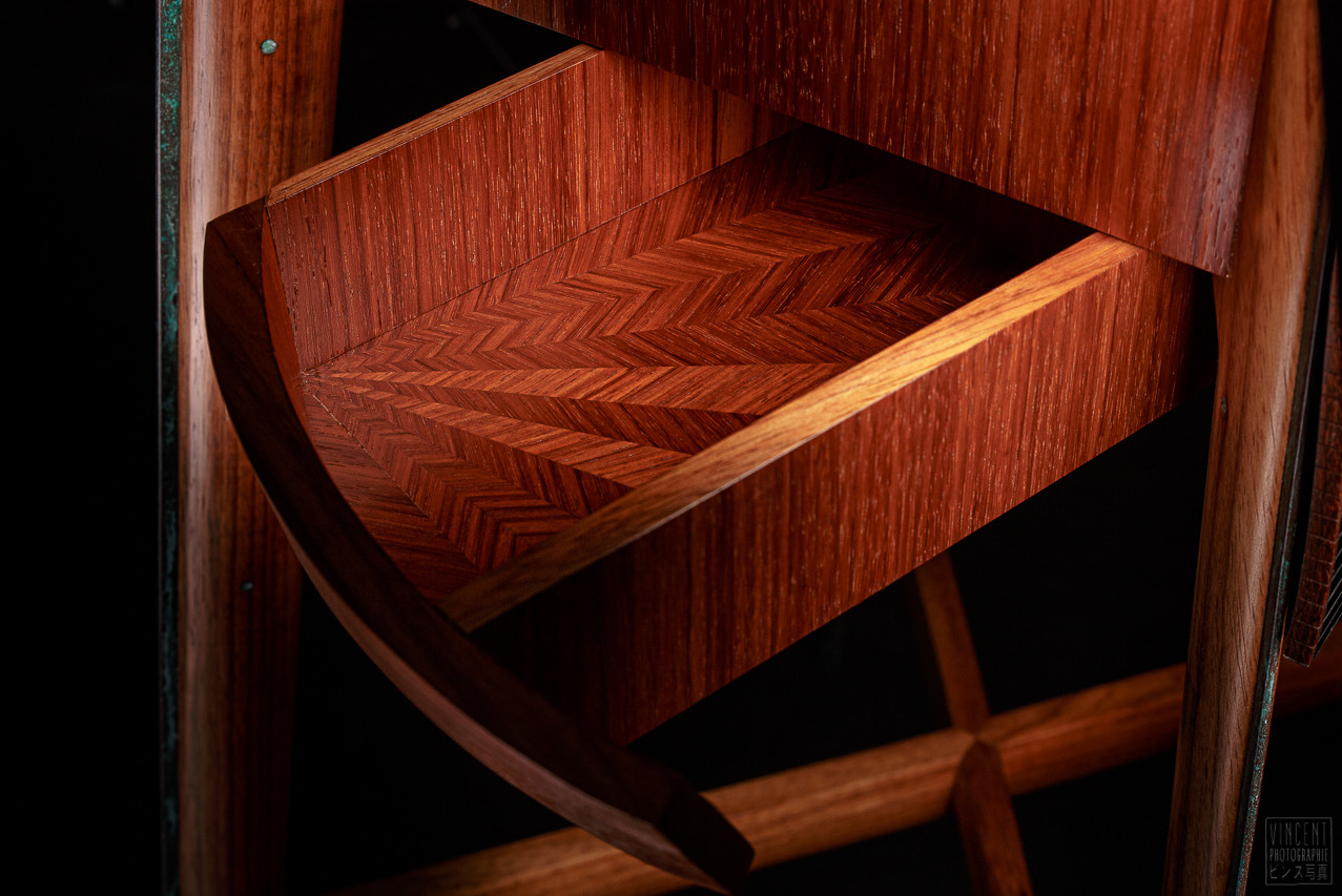 Marquetry pattern inside the drawers