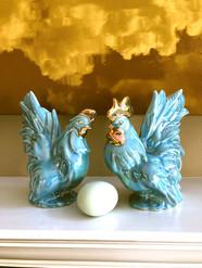 Vintage blue chickens!