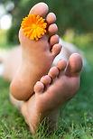 Healthy Feet withn orange flower