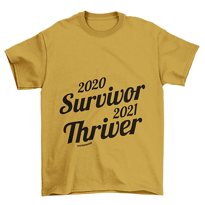 2021 Thriver Tshirt (Cursive) - Gold