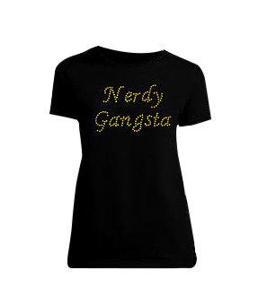 Nerdy Gangsta ™ Ladies Gold Hologram T-Shirt