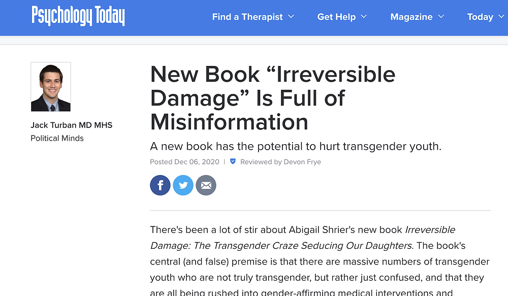 """New Book """"Irreversible Damage"""" Is Full of Misinformation"""
