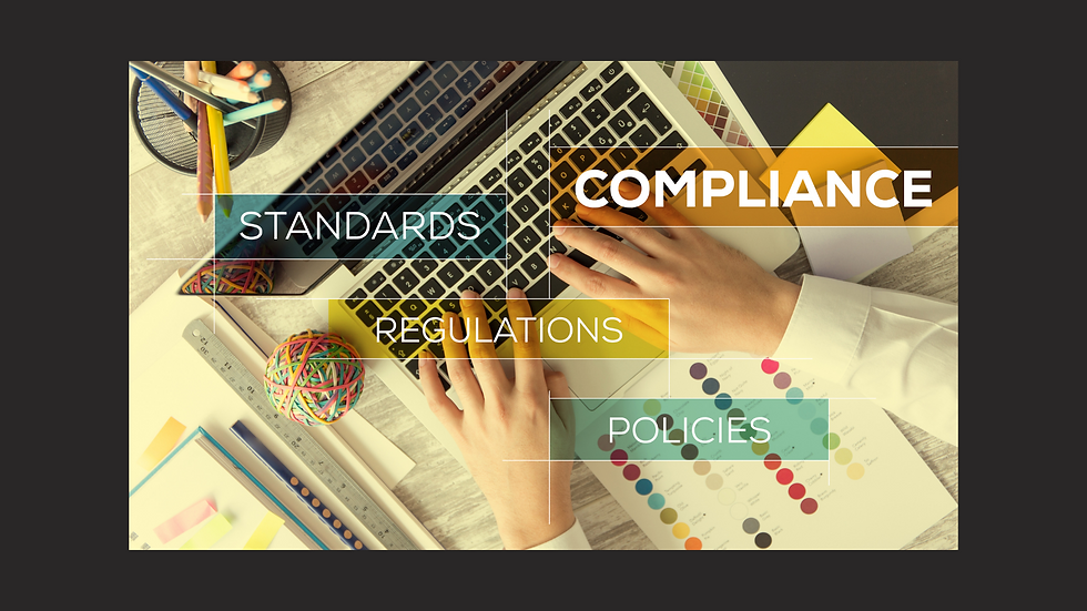 Hands on a keyboard with floating words reading Compliance, Standards, Regulations, Policies