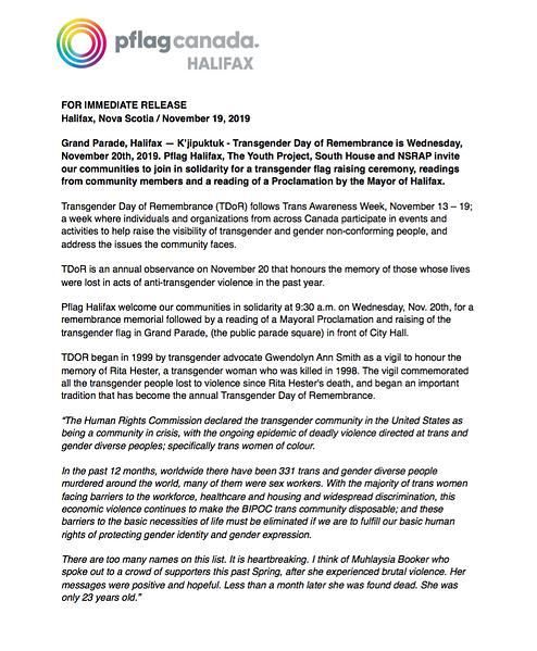 TDOR 2019 Press Release