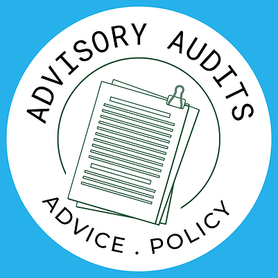 Pictographic with paper and words 'Advisory Audits, Advice, Policy' as headings
