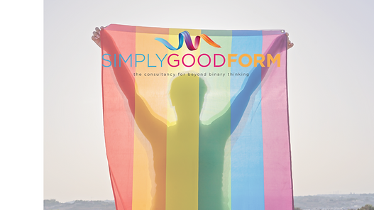 Words Simply Good Form in blue pink and orange overlay the shadow of a person holding PRIDE flag