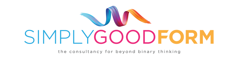 Simply Good Form logo with colourful ribbon above words.  the consultancy for beyond binary thinking