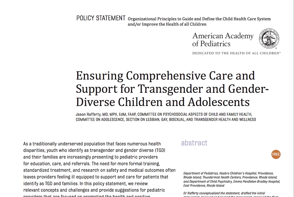 Ensuring Comprehensive Care and Support for Transgender and Gender-Diverse Children and Adolescents