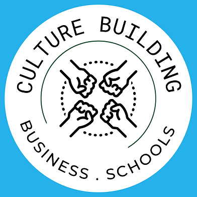Pictographic with 4 fists inward.  in a circle and word Culture Building, Business Schools around